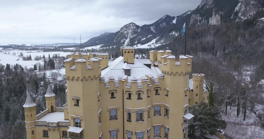 Aerial view of Hohenschwangau Castle 4k winter landscape. Germany | Shutterstock HD Video #1045193374