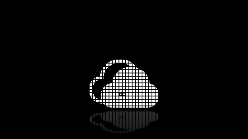 Animated icon - Cloud on a dark background is assembled from many cubes and then dissolved. Text on a reflective surface. loop animation 4k   Shutterstock HD Video #1045309384