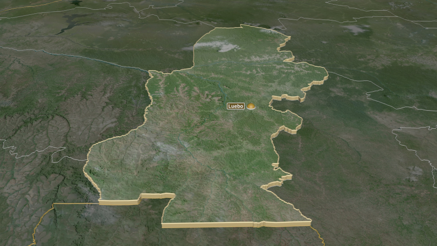 Kasaï, province with its capital, zoomed and extruded on the satellite map of Congo Kinshasa in the conformal Stereographic projection | Shutterstock HD Video #1045352554