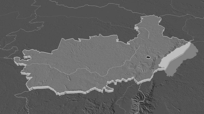 Ituri, province with its capital, zoomed and extruded on the bilevel map of Congo Kinshasa in the conformal Stereographic projection | Shutterstock HD Video #1045352584