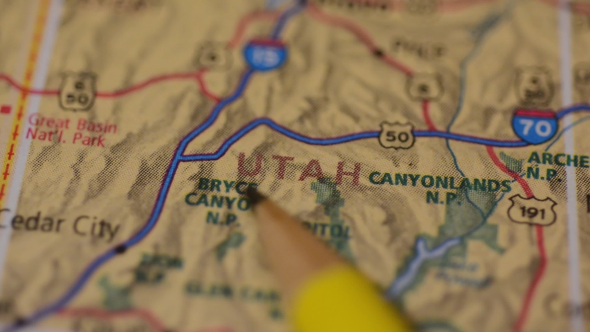 Close up view on the map of Utah state, USA | Shutterstock HD Video #1045417414