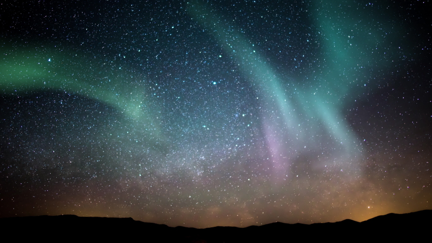 Aurora Borealis Milky Way Galaxy Rise Time Lapse Stars Over Mountains Simulated Northern Lights | Shutterstock HD Video #1045818154