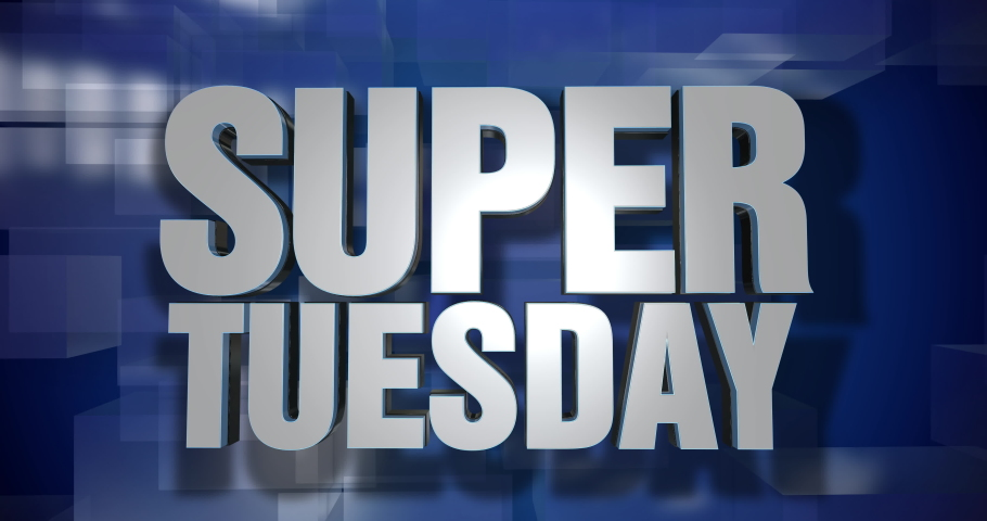 A blue dynamic 3D Super Tuesday news transition and title page animation. 5 and 2 second options included. Green screen.   | Shutterstock HD Video #1046333434