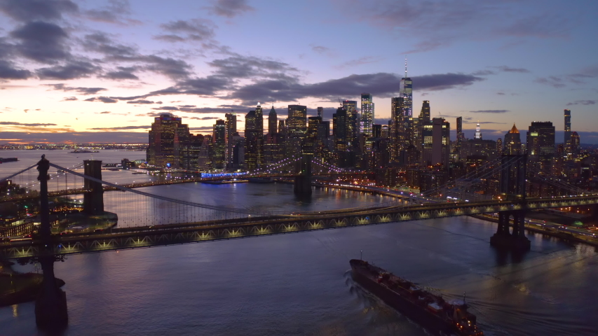 New York City downtown buildings skyline aerial evening sunset | Shutterstock HD Video #1046444524