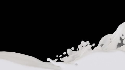 Animated river of white paint, condensed milk or heavy cream pouring and filling up whole screen. Transparent background (Alpha channel embedded with HD PNG file)
