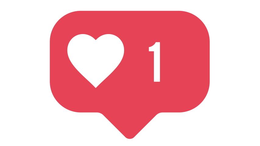Flat design social media heart button counter going up. Alpha matte 4K for ease of use.    Shutterstock HD Video #1046497534