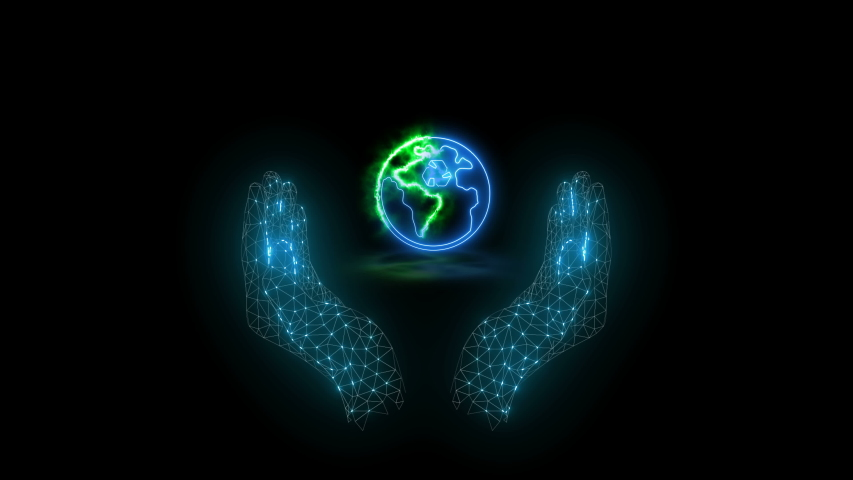 Animation of an earth map in hands on black background with symbol of recycling. Screen mode. | Shutterstock HD Video #1046841604