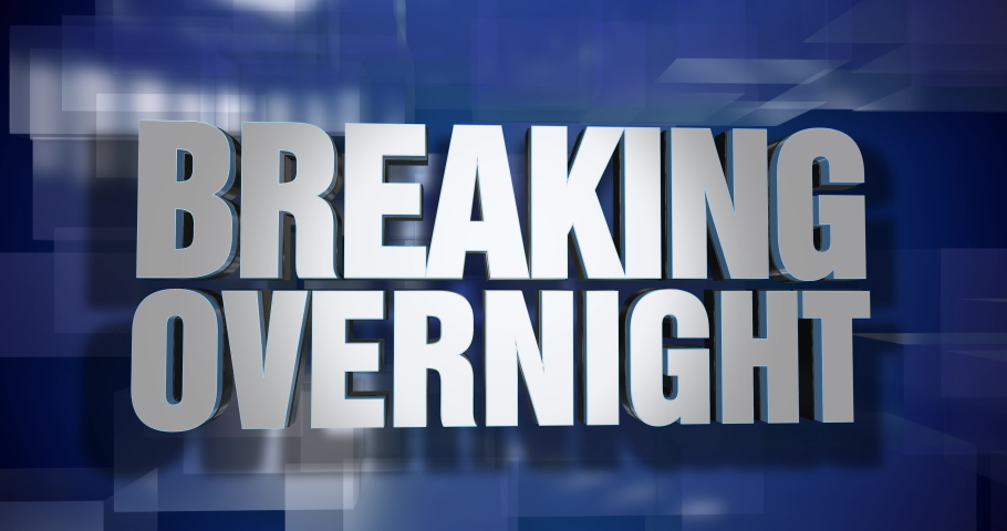 A blue dynamic 3D Breaking Overnight news transition and title page animation. 5 and 2 second options included with optional luma matte for both.   | Shutterstock HD Video #1046922094