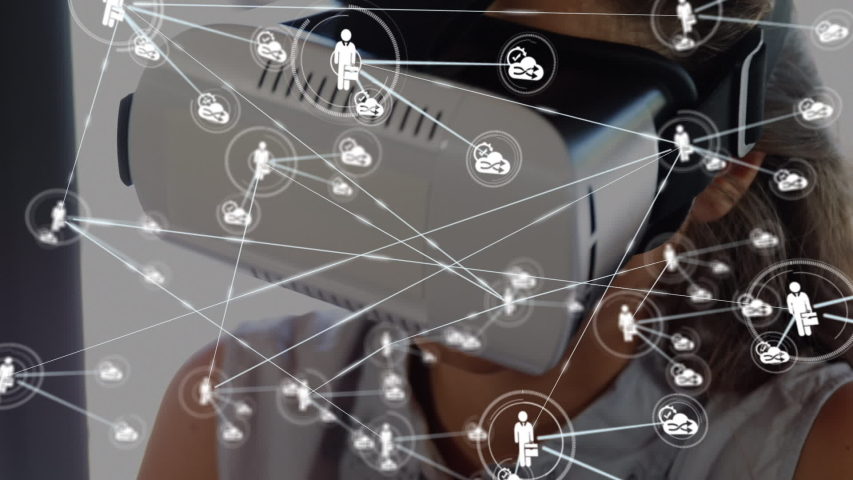Animation of network of connections with people and share icons with a smiling Caucasian woman wearing a Virtual Reality headset and using a digital tablet in the background. Global networking virtual | Shutterstock HD Video #1046978974