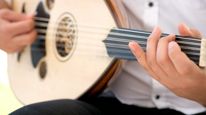 Man play Turkish and Arabic instrument ud or oud. 4k Video. | Shutterstock HD Video #1046979034