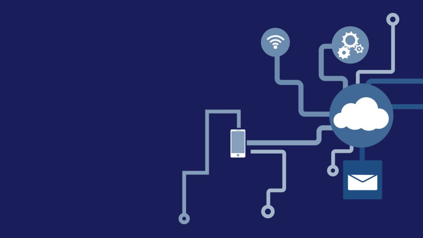 Animation of network of connections cloud computing with cloud, message, wifi icons on blue background. Global network of connections and communication cloud computing concept digitally generated | Shutterstock HD Video #1046980234