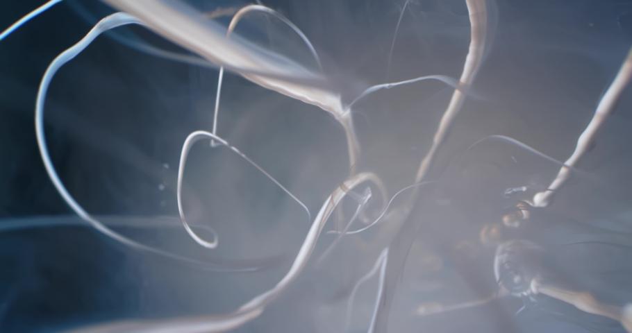 White  Fluid  in Motion underwater. Macro.  Liquids Threads. | Shutterstock HD Video #1047055174