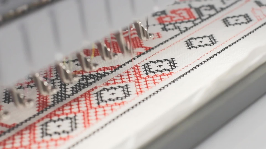 The machine embroiders with colored threads, close-up. | Shutterstock HD Video #1047056284