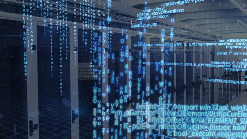 Animation of data processing and digital information flowing through network of computer servers in a server room. Global network of internet service provider or data processing centre concept | Shutterstock HD Video #1047231244