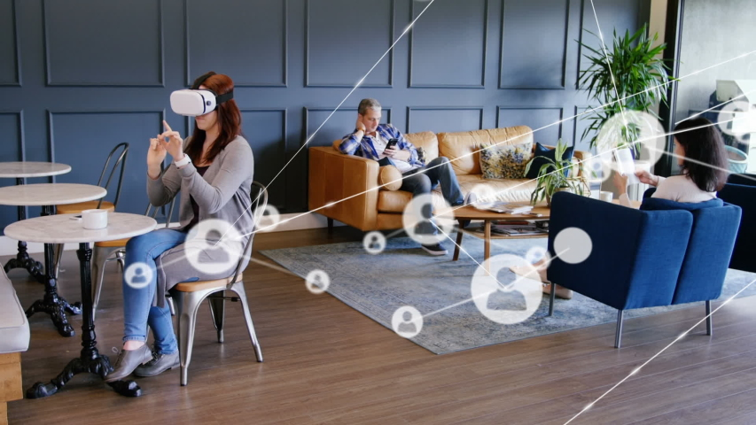 Animation of network of connections with people icons with woman wearing a Virtual Reality headset in the background. Global networking and connections concept digital composite. | Shutterstock HD Video #1047241324