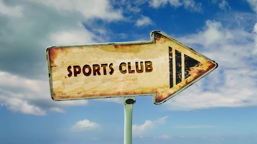 Street Sign the Way to Sports Club | Shutterstock HD Video #1047261064