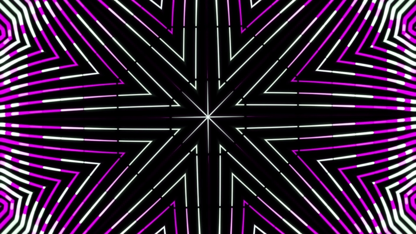 Geometric abstract kaleidoscope with moving neon rows of lines changing their color. Animation. Abstract kaleidoscope motion background   Shutterstock HD Video #1047366274