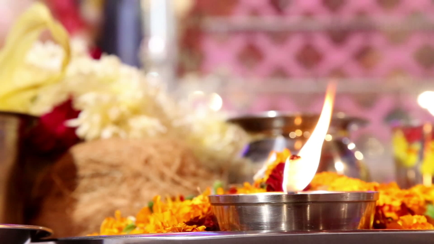 Worship in temple during traditional festival. | Shutterstock HD Video #1047481984