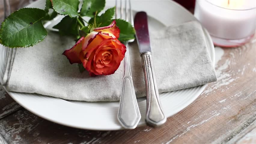 Vintage Table Setting With Glasses And Cutlery On An Old Wooden Board Summer Wedding Table Decoration. Stock Footage Video 10480514 | Shutterstock & Vintage Table Setting With Glasses And Cutlery On An Old Wooden ...