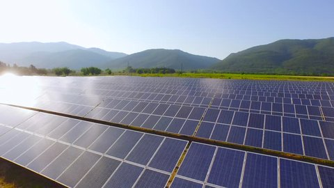 Aerial Close Up Of Solar Panels Collecting Sun Light Green Energy Nature Preservation Ecology Innovation Clean Green Living Concept Uhd 4K