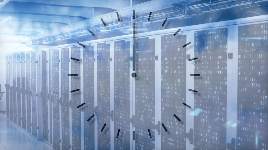 Animation of clock moving fast, data processing and digital information flowing through network of computer servers in a server room with light trails flashing on surface. Global network of internet | Shutterstock HD Video #1049361874