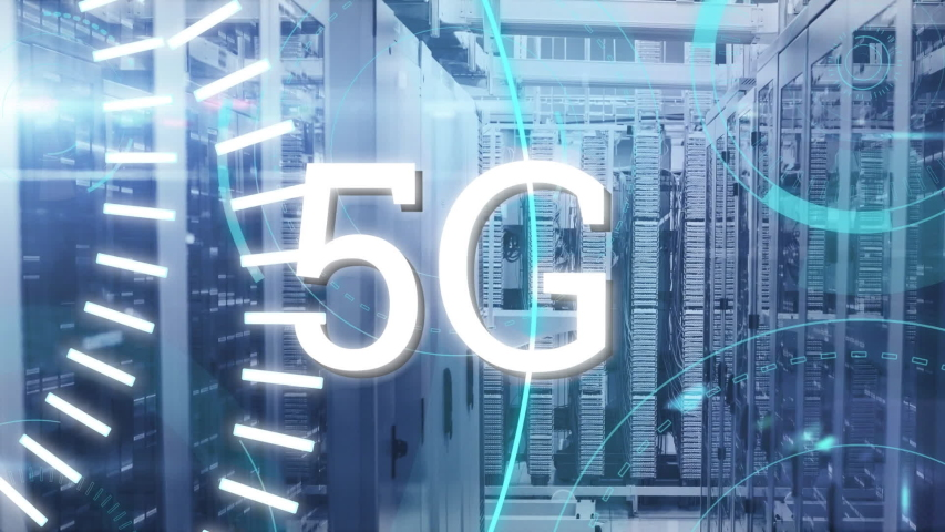 Animation of 5G written in white, data processing and digital information flowing through network of computer servers in a server room with light trails flashing on surface. Global network of internet | Shutterstock HD Video #1049361904