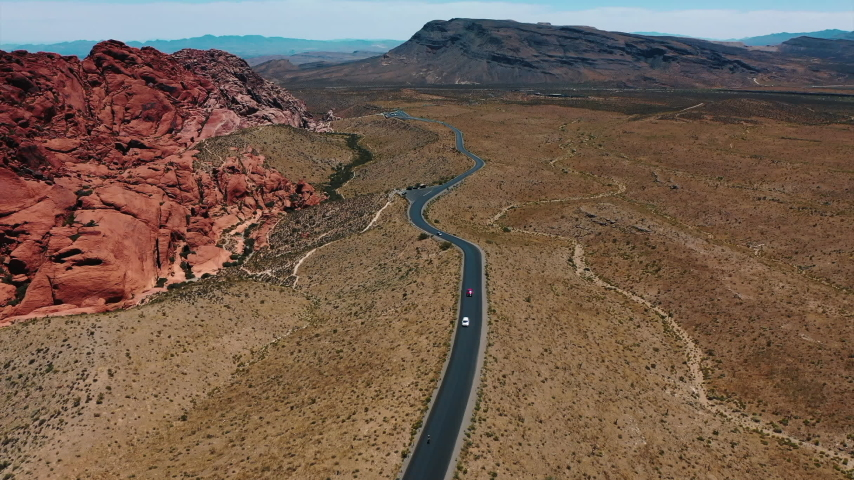 Stunning aerial landscape views of Red Rock Canyon in in Nevada's Mojave Desert near Las Vegas. | Shutterstock HD Video #1049465554
