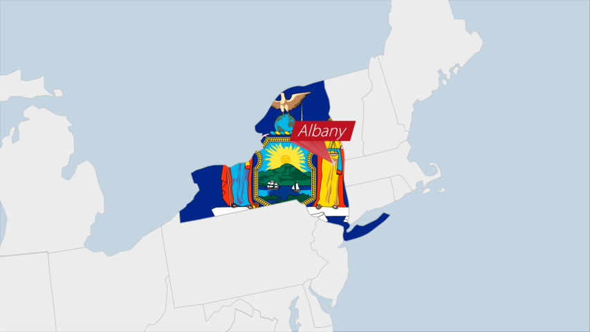 US State New York map highlighted in New York flag colors and pin of country capital Albany, map with neighboring States. | Shutterstock HD Video #1049474134