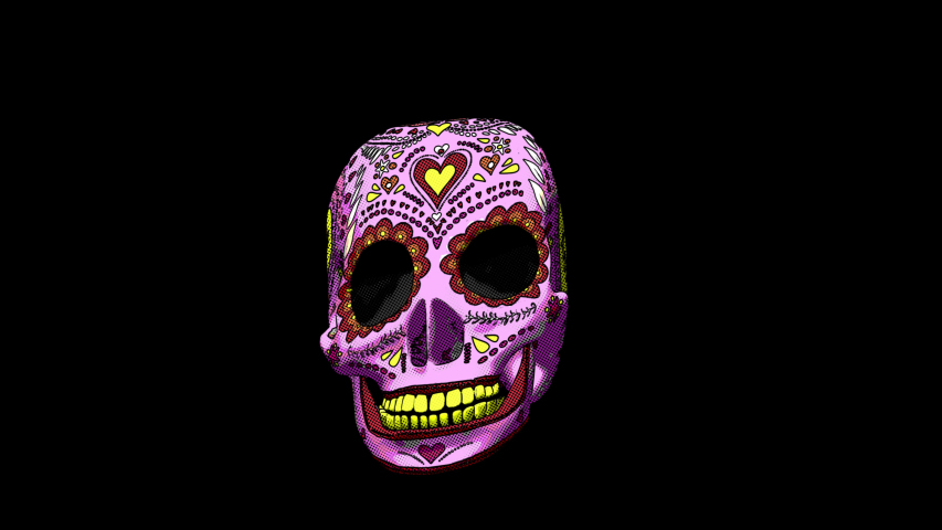 Seamless animation mexican sugar candy skull printed drawn style cartoon isolated with alpha channel. Hypnotic halloween background with comic halftone effect. | Shutterstock HD Video #1049505574