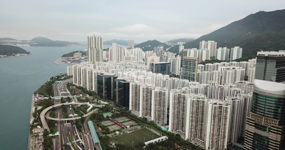 Aerial view in Quarry Bay and Tai Ko, Eastern of Hong Kong Island  | Shutterstock HD Video #1049564434