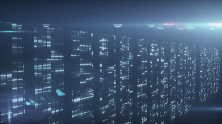 Animation of data processing and digital information flowing through network of computer servers in a server room with light trails flashing on surface. Global network of internet service provider or | Shutterstock HD Video #1049614984
