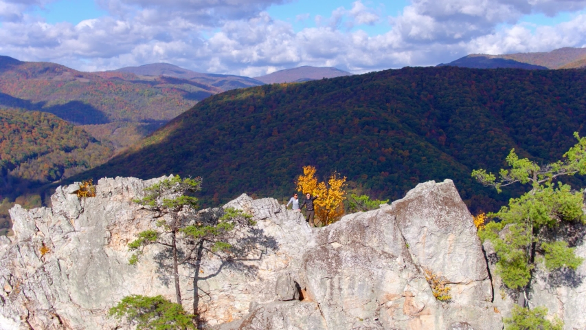 Hikers on Seneca Rocks, West Virginia, Aerial Drone View | Shutterstock HD Video #1049616484
