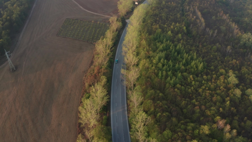Drone flight over colorful autumn forest with road and cars in nice morning light | Shutterstock HD Video #1049654554