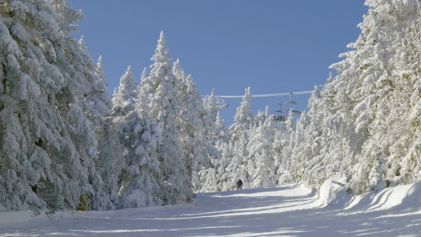 Skiers on slope and ski lift with snow covered trees chairlift at background | Shutterstock HD Video #1049909014