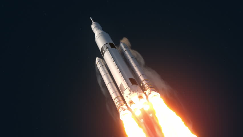 Space Launch System Takes Off. 3D Animation.