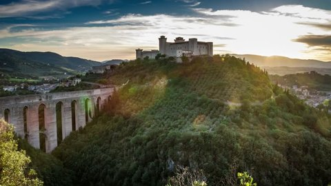 Sunset over beautiful castle in Preci, Italy, Umbria