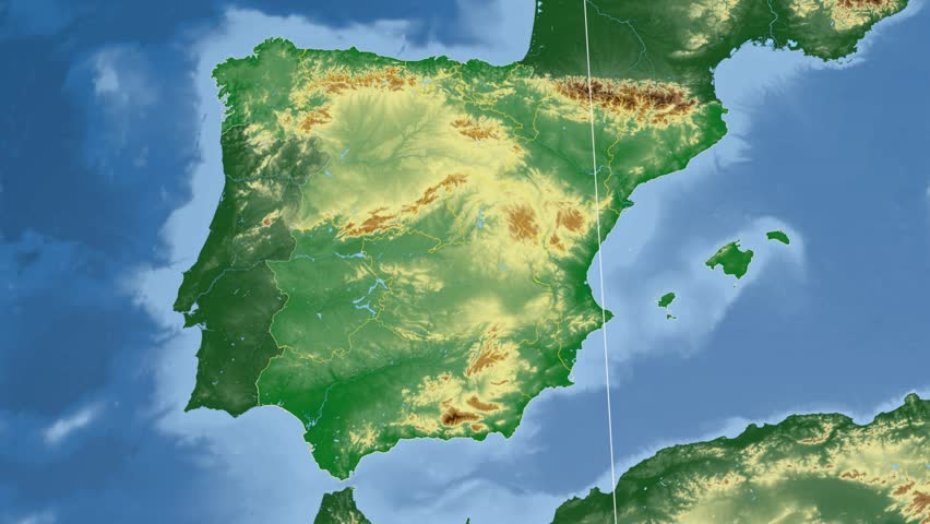 Andalucia autonomous community extruded on the physical map of Spain. Rivers and lakes shapes added. Colored elevation data used. Elements of this image furnished by NASA.