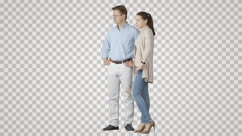 Standing man shows something pretty girl. Footage with transparent background. File format - mov. Codec - PNG+Alpha. Combine these footage with your background or other people