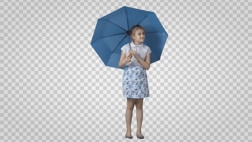 Standing girl plays with umbrella. Rain.  Cut out video shooting on green screen. File format - mov. Codec - PNG+Alpha. Combine these footage with your background or other people