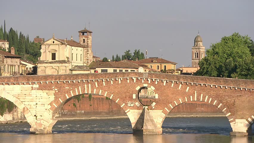 "Verona (the city of ""Romeo and Juliet"" in Italy) - Ponte Pietra upon the Adige River 001"