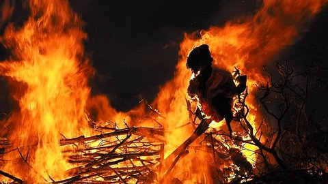 Burning a witch effigy as part of a Danish midsummer tradition