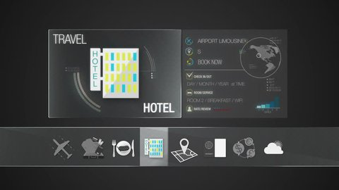 Hotel icon for travel contents.Digital display application.(included Alpha)