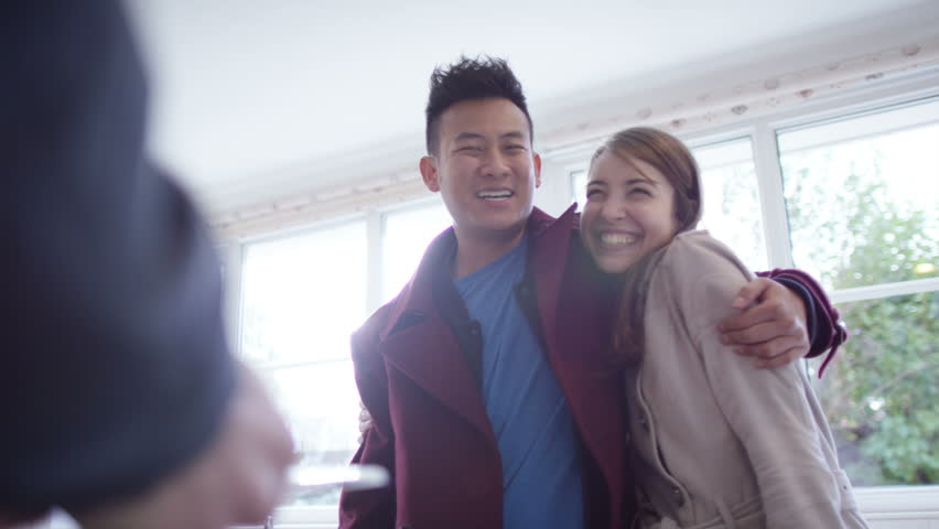 4K Young couple with real estate agent, looking at home to buy or rent | Shutterstock HD Video #10608284