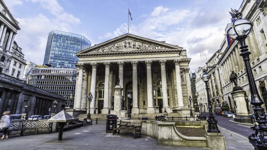 LONDON, UNITED KINGDOM - JUNE 21, 2015 - Time lapse view of the Royal exchange  near the Bank of England, in the City of London