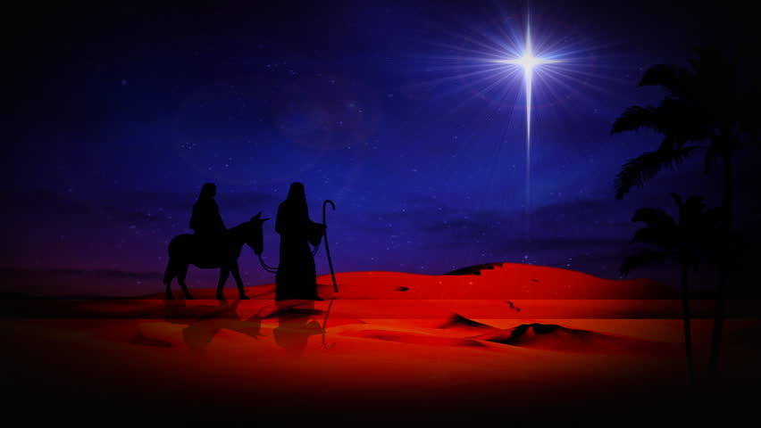 star in night sky above bethlehem  with silhouette of mary