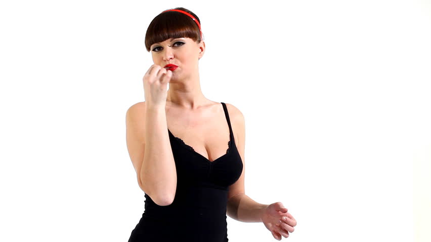 Sexy woman in lingerie eat chewing gum