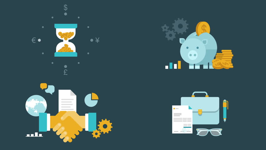 Flat style animated concept icons set of finance, money,  time saving, partnership, cooperation, contract.