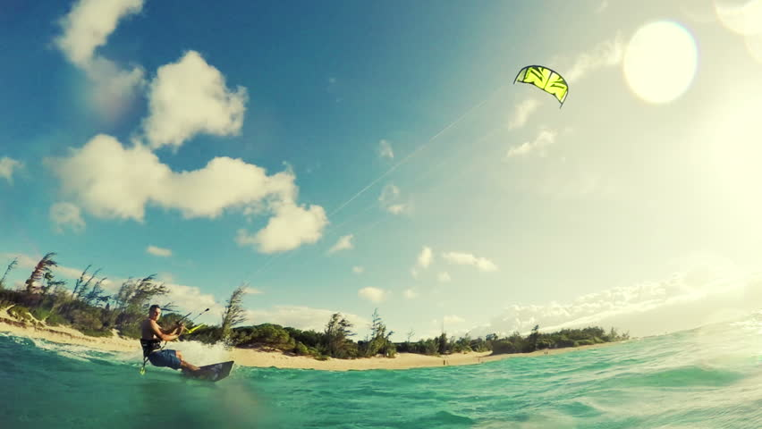 Extreme Sports Kite Surfing Concept in Slow Motion HD.