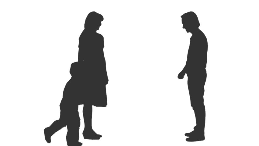 Little boy and girl silhouette free vector download 9088