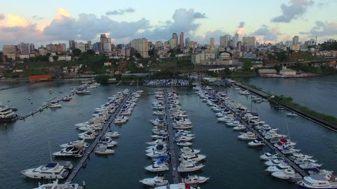Aerial view of boats and small yachts docked at Bahia Marina in Salvador, Bahia, Brazil.